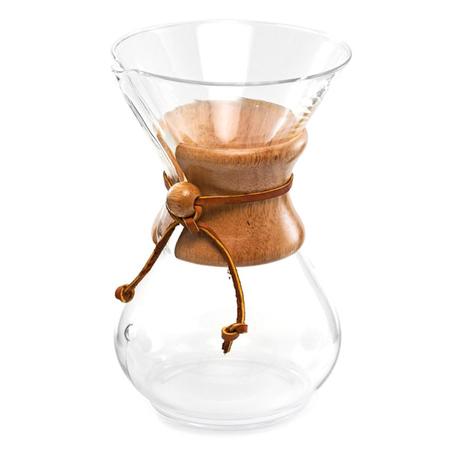 Za pomocą tego modelu Chemex Coffee Maker przygotujesz jednorazowo do 10 filiżanek kawy (pojemność 1,4l).